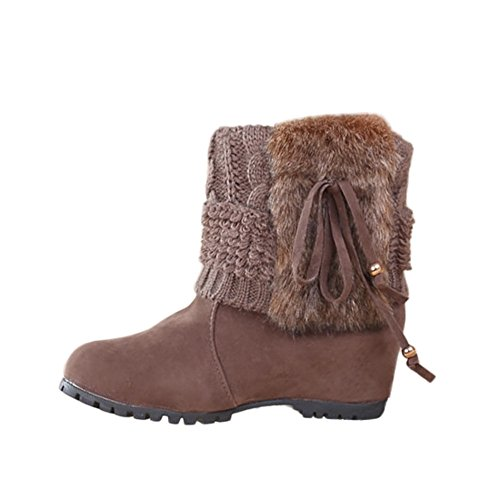 Women's Hatop Outdoor Winter Plush Snow Khaki Bowknot Shoes Boots Women Warm Boots Ankle Boots EBpwpgq