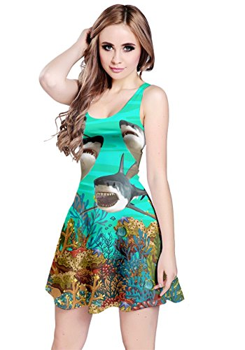 CowCow Womens Battle Of The Coral Sea Sharks Sleeveless Dress, Green - S
