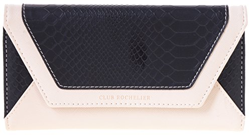 Club Rochelier Women's Slim Clutch with Metal Frame Wallet (Black, Cream)