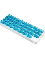 BRAVOSOLEIL Pill Case Portable Travel Clear Recept Medicinering Dosett Pill Box Med Fuktsäker Design for Vitaminer Fiskoljor