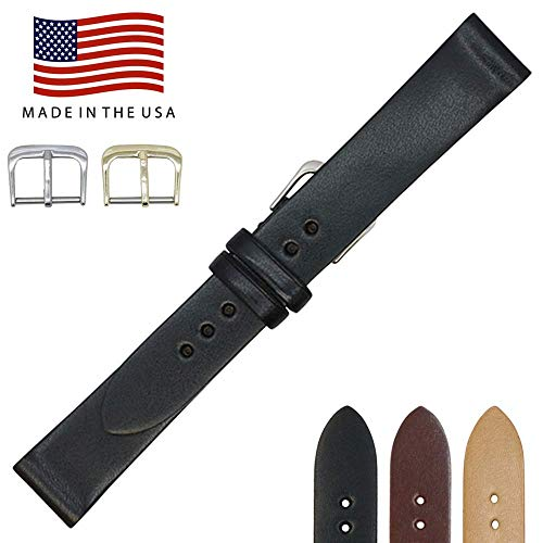 20mm Black English Bridle Leather - Flat Watch Strap Band - Gold and Silver Buckles Included - Factory Direct - Made in USA by Real Leather Creations FBA232