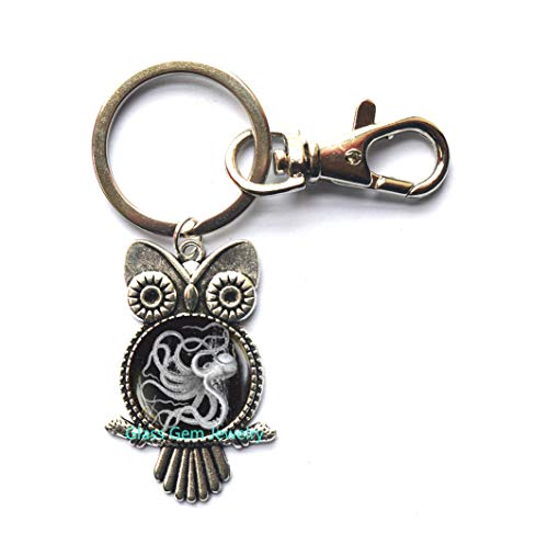 (Charming Octopus Owl Keychain, Octopus Owl Key Ring, Octopus Jewelry, Sea Life Jewelry, Nautical Jewelry, Charming Art Graphic Owl Key Ring, Men's Owl Keychain,Q0061 (Y1))