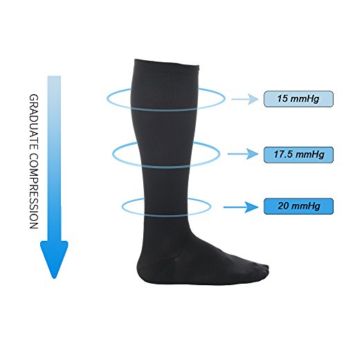 6 Pairs Knee High Graduated Compression Socks For Women and Men (15-20mmHg) Best Medical,Running & Fitness, Travel & Flight Socks, Circulation & Recovery,Nurses & Maternity Pregnancy