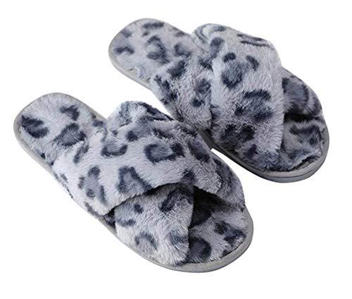 Peluche Slip Slider Flop Spa blue House 37 Ladies Pantofole Soffice Suola Toe Twgdh Leopard In Open Confortevole amp; Soletta Coperta Morbida Gomma On Flip 4dqAwt84Fx