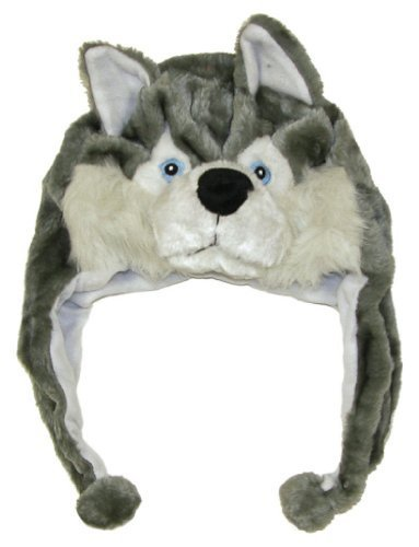 (Cute Animal Hat- Plush Husky Timber Wolf Animal Winter Hat )