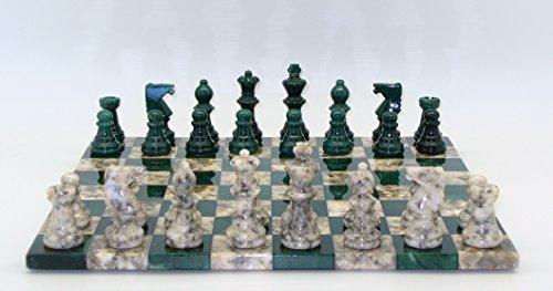 World Wise Green & Grey Alabaster Chess Set