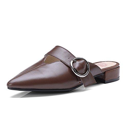UK4 Bassi Sandali Donna Moda 5 UE37 Stagione Marrone Marrone 5 Estiva Colore Singole QIDI Pantofole Tacchi dimensioni Scarpe Y6xFSYd