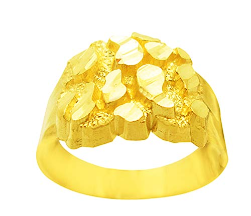 AMZ Jewelry 10k Gold Solid Nugget Ring Men's Gold Ring 2.6 g 10k Gold Nugget Ring