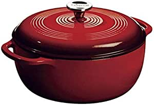 Lodge Enameled Cast Iron Dutch Oven With Stainless Steel Knob and Loop Handles, 6 Quart, Red