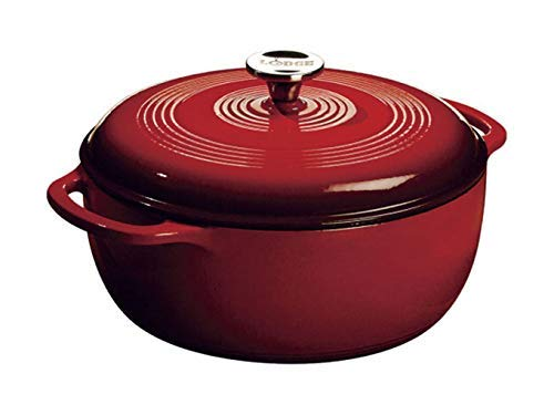 Lodge 6 Quart Enameled Cast Iron Dutch Oven. Classic Red Enamel Dutch Oven (Island Spice Red) (6 Qt Lodge Dutch Oven)