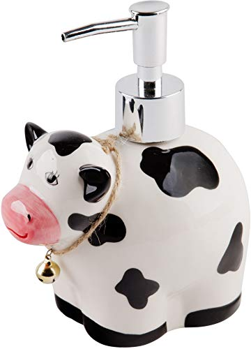 (Home Essentials Ceramic Cow Shaped Soap Dispenser- Lotion Dispenser for Kitchen or Bathroom)