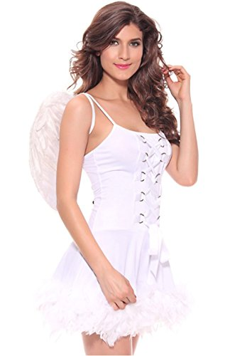 Women's Angel Costume Adult Lace-Up Corset Tutu Dress with Wing Set Fallen Angel Fancy Dress Halloween Cosplay(White,XXL) ()