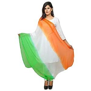 Banjara Women's Chiffon Tri Color Dupatta (Tiranga _Orange, White, Green_ Free Size)