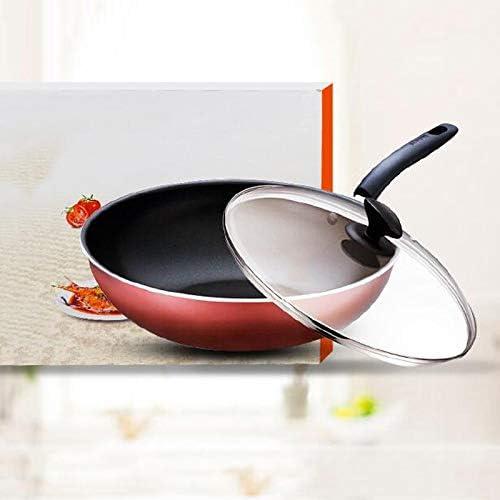 LINrxl Batterie de Cuisine contemporaine antiadhésive en Aluminium anodisé Dur/Wok-Orange à Fond Plat / 11.8x3.58inchees