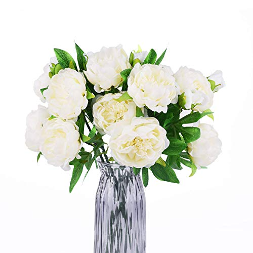 Blooming Paradise 3 Pack Peony Fake Flower 2 Flower Head 1 Bud Silk Lifelike Artificial Flowers House Wedding Decoration White