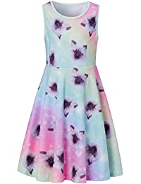 f9cb26d47b3a Girls Sleeveless Dress Round Neck Floral Printed Casual Party Sundress 4-12  Years
