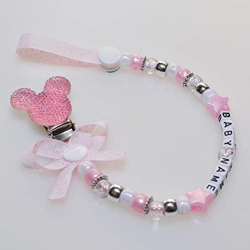 Hot Pink, with Bow Personalised Dummy Clip with Stunning Disney Theme Mickey Mouse Resin Pacifier Chain for Baby by Polka Dot Ribbon Any Name