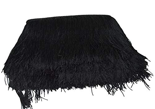 (Mangocore 10Yard/Lot 15CM Long Lace Trim Color Polyester Tassel Fringe Trimming For Diy Latin Dress Stage Clothes Accessories (black (as picture)
