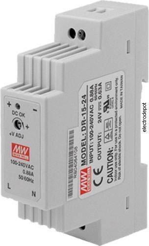 DIN Rail Power Supply 15W. 0.63A, 24VDC, input 120/240VAC UL