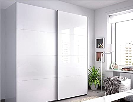 LIQUIDATODO ® - Armario de 2 puertas correderas moderno y barato de 150 cm en color blanco brillo: Amazon.es: Hogar