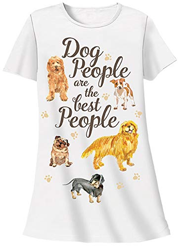 (Dog People are The Best People Sleepshirt 100% Cotton White)