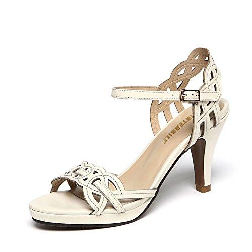 Sandalias Talladas Hueco De Cuero/Tacones Altos De Verano Con Una Palabra De Zapatos Lulu A