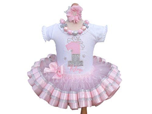 Girls Snowflake Winter ONEderland Birthday Outfit with Personalized Shirt and Ribbon Trim Tutu -