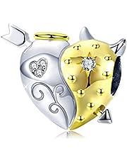 Ciondolo a forma di cuore, con metà angelo e metà diavolo, con cristalli, compatibile con braccialetti Pandora, in argento Sterling 925