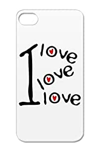 I I Txt Red Hearts Valentine Love Fonts Text Heart Miscellaneous Romantic Love TPU Protective Hard Case For Iphone 4/4s