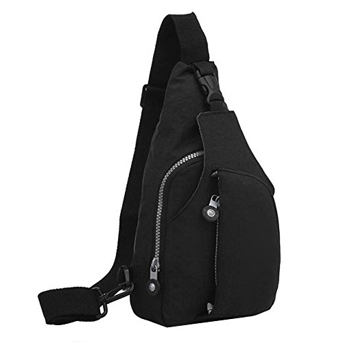 Widewing Nylon Unisex Crossbody Chest Packs Travel Sport Shoulder Messenger Handbags Black