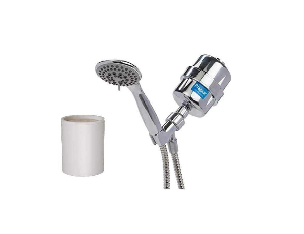 ProPur ProMax Handheld Shower Filter with Massage Head, 48'' Stainless Steel Flex Hose (Chrome Plus) BUNDLED WITH ProMax PM-RF Replacement Shower Filter