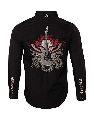 - Rock Roll n Soul Men's Long Sleeve Embroidered Guitar Wings Button Down Shirt Black 702B (XL)