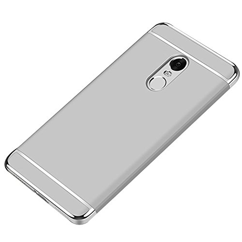 Merssavo Tres Segmentos PC Galjanoplastia Duro Shell Teléfono Celular Protección Caso para Xiaomi Hongmi Note 4 Oro plata