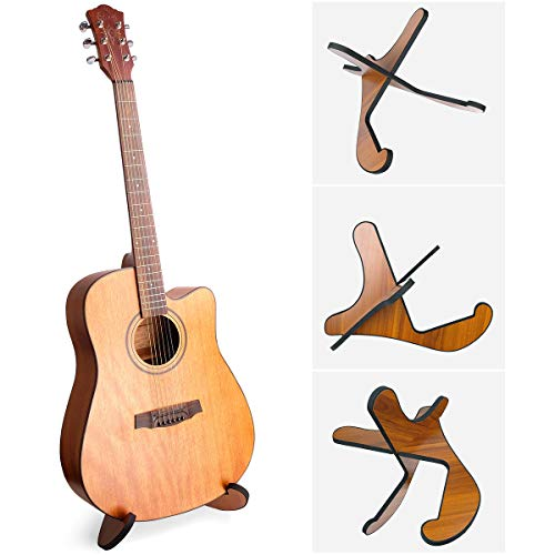 Guitar Stand,Universal Acoustic Wooden Guitar Stand with Guitar Capo & 8 Guitar Picks, Detachable Guitar Holder for Musical String Instrument,Acoustic Bass Electric Classical Guitars