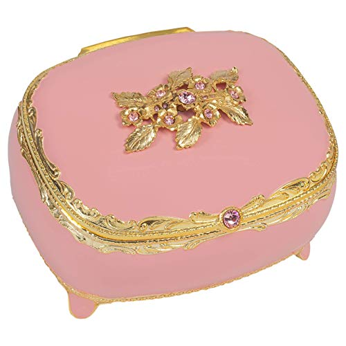 (Pink with Swarovski Crystals and Gold Accents Metal Jewelry Music Box Plays Clair de Lune)