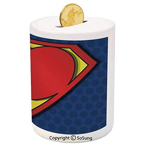 (Superhero Ceramic Piggy Bank,My Super Man Shield Logo with Heart Figure Valantines Romance Print 3D Printed Ceramic Coin Bank Money Box for Kids & Adults,Night Blue Red Yellow)