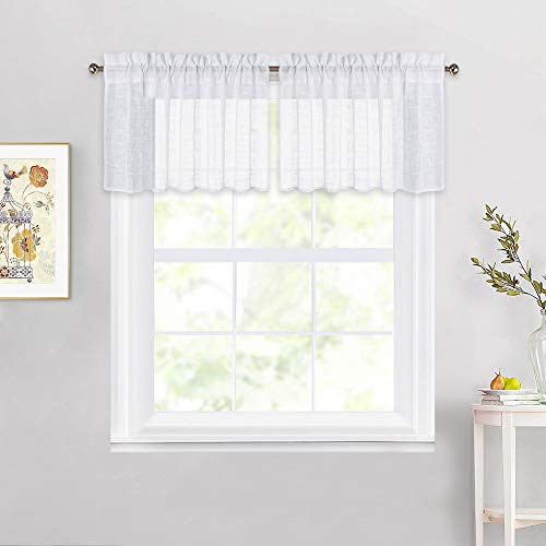 NICETOWN Linen Textured Sheer Valances - White Translucent Small Window Short Curtains Semitransparent Voile Sheer Panels for Bedroom, 52 inches Wide x 18 inches Long, Sold by 2 Pieces (Curtains Window Valances And)
