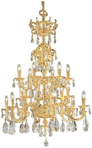 Classic Lighting 5718 G C Princeton, Crystal Cast Brass, Chandelier, 24k Gold Plate ()