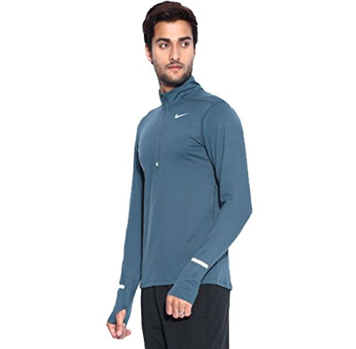 717404-464 Nike Men's Dri-Fit Element 1/2 Half Zip Running Shirt Blue Hassle-free Earphone Access (Large)