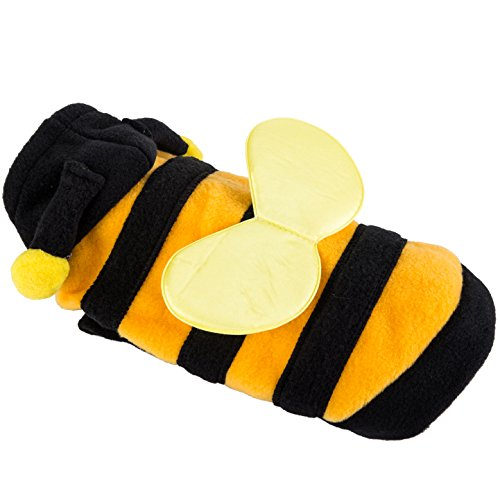 VIILER Fashionable Halloween Activities Cosplay Costume Cotton Basic Cold Weather Dog Hoodie for Small Dogs and Cats (Yellow Honeybee, (Cold Weather Halloween Costumes)