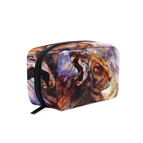 Makeup Bag Abstract Animal Lion Tiger Face Art Cosmetic Pouch -