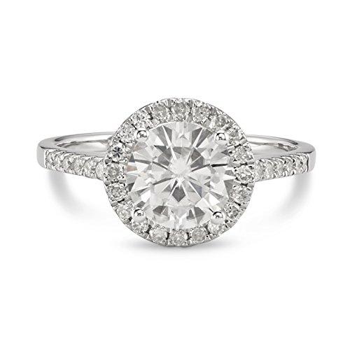 Forever Brilliant White Gold 7.5mm Moissanite Engagement Ring, 1.82cttw DEW by Charles & Colvard