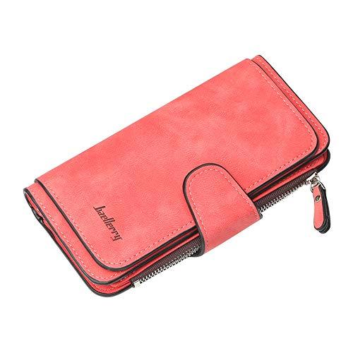 Buckle Women's Wallet Big Three-fold Buckle Multi-card Scrub Fabric Zipper Wallet Clutch (Red)