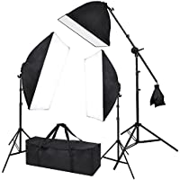 Photograpy 20x28 Softbox Boom Arm Stand Continuous Lighting Kit Photography Studio Video 2000w w/ Case