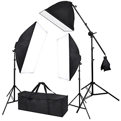 Photograpy 20x28'' Softbox Boom Arm Stand Continuous Lighting Kit Photography Studio Video 2000w w/ Case by AW