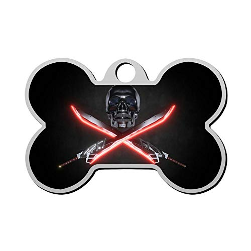 GPZHM Skull Pet Tag - Bone Shaped Dog Tag & Cat Tags Pet ID Tag Personalized Custom Your Pet's Name & Number 3D -