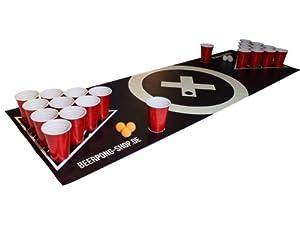 Beer Pong Tisch Matten Set Audio Table Design inkl. 50 Red Cups, 6 Beer Pong...