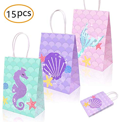 Mermaid Gift Bags Mermaid Party Supplies Favors Goodie Bag Glitter Treat Bags for Under the Sea Party Mermaid Gifts for Girls Set of 15 -