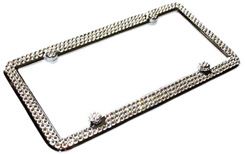 3 Row FULL CLEAR CRYSTAL Bling Sparkle Covered Metal License Plate Frame Frame made w/ SWAROVSKI Elements & 4 Caps -  Hotblings, 43237-2