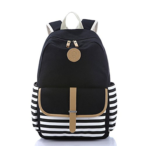 Abshoo Causal Travel Canvas Rucksack Backpacks for Girls School Bookbags (Black)